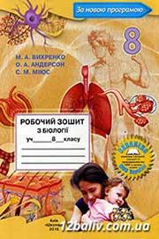 ГДЗ Біологія 8 клас Вихренко Андерсон Міюс 2016 -  Робочий зошит - нова програма